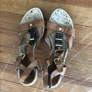Brown leather high heeled sandals
